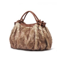 Free Shipping,  Lady's Fur Plush Handbag, Women Versatile Evening Bag, Fashion Brown Totes