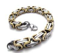 Мода тяжелая Мужская 316l из нержавеющей стали византийские цепь браслет 18k золото покрытием шириной 22,5 мм