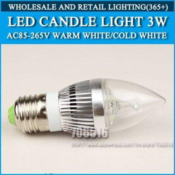 Wholesale 100PCS LED candle light 3W E27 AC85-265V Silver Cold white/warm white Free Shipping / DHL