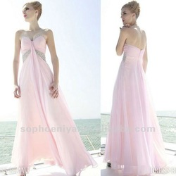 Modern Sweetheart with Beaded Pink Ankle length latest design formal evening gown(China (Mainland))