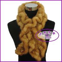 PROMOTION! Free Shipping! Mink skin ruffle knitted fur muffler scarf