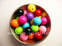 Cheapest  Large Size 24mm Arylic Chunky Beads,  Mixed Color 63pcs A Lot   Acrylic Solid  Beads for Necklace&Bracelet Jewelry!