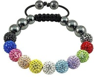 5pcs/lot 10mm ball colourful Shamballa Bracelets jewelry Wholesale New Micro Pave CZ Disco Ball Bead Shamballa Bracelets B0090
