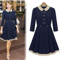 Xrui 2012 fashion long-sleeve turn-down collar slim ruffle one-piece dress autumn