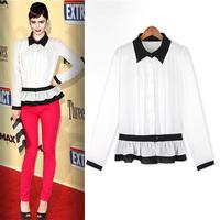 Long-sleeve slim waist shirt slim formal turn-down collar shirt white women's gentlewomen shirt c006