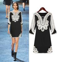 Xrui 2012 autumn slim fashion chiffon o-neck long-sleeve dress d007