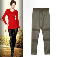 Autumn fashion new arrival mid waist PU girgashites trousers casual pencil pants trousers