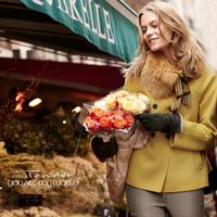 Large fur collar ! wool fabric middot . autumn woolen outerwear