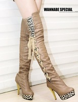 Free Shipping,Gold High Heel Pumps Sexy Leopard #A16 Side Lace Up Over Knee Thigh High Boots,US 4-8.5,Womens/Ladies Shoes