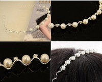 free shopping Wholesale 20pcs/lot QXT women's Fashion Pearl diamond hair bands wave headband headdress 11g