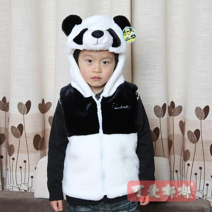 Clothes thick vest giant panda clothes hat gift(China (Mainland))