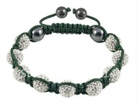 Браслет на ногу 12pac/lot Micro Pave CZ Crystal Curved Long Tube Bending Shamballa Bracelet, black string, B0768