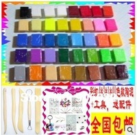 Free Shipping  fimo Soft Polymer  Clay Set,40 pcs with 40 colors+Free tools Accessorie+tutorial,Need oven bake
