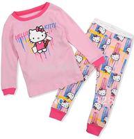 2014 Hello Kitty Baby Girls Long Sleeves Clothing sets Pajamas Sleepwear Kids Clothes 2pcs set Free Shipping