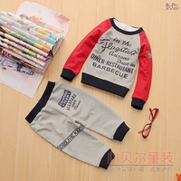 Baby boy autumn set children's clothing child t-shirt harem pants twinset male child sports set sweatshirt set
