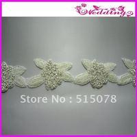 "Crystal Rhinestone Applique Silver Beaded 2.5"" Sewing Bridal Motif Sash"