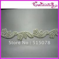 """Silver Crystal Clear Rhinestone Applique Embellishment 2.0"""" Bridal Sash :)"""