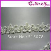 """Crystal Clear Silver Beaded Rhinestone Applique 2.0"""" Great Bridal Motif"""