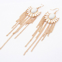 free shipping Fashion vintage elegant fan-shaped tassel earrings long design exaggerated earrings long accessories