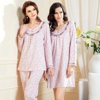 Lounge spring and autumn women's 100% cotton long sleeve length pants o-neck sleep set