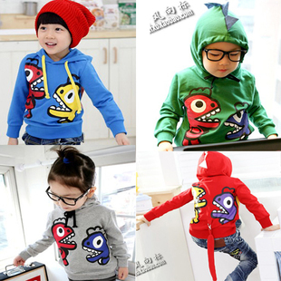 Wholesale cartoon dinosaur children's clothing boy's girl's top shirts Hoodies Sweater hoody coat sweatshirts +Free shipping