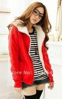 South Korea women hoodie inside faux fur coat jacket sweatshirt jumper  /  Free Shipping