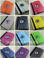 DHL FEDEX FREE SHIPPING 10pcs 360 Degree Rotating Leather case for ipad+ 10pcs Stylus pen+10pcs Screen Protector