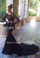 Black Chiffon Lace Long Train Mermaid Long Sleeves Evening Dresses Backless Peplum 2015 Designer Party Dress vestido de festa