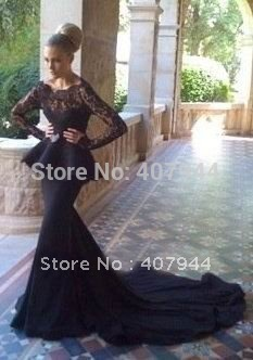 Black Chiffon Dress on Evening Dress With Long Sleeves Price Lace Mermaid Evening Dress