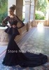Free shipping black chiffon and lace Floor length mermaid full length sleeves  evening dress with long train