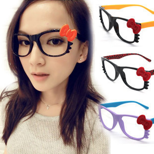 Free shipping (mix order >10$ ) K035 magazine hello kitty glasses frame handmade bow cat the trend of the mirror(China (Mainland))