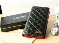 Christmas gift !2012 famous brand 100% genuine leather excellent suede women's long design plaid wallet multi card holder wallet