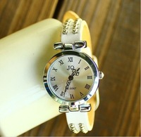 Christmas Gift  White Genuine Cow leather Punk Two rows Rivets Roma watch women TOP quality KOW008  Min order=15usd
