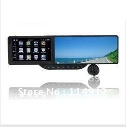 """Free shipping DHLCar Rearview 5"""" HID GPS+bluetooth+AV+720P Camera DVR Multi-languages+wireless parking camera+4GB cards(China (Mainland))"""