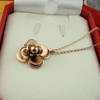 camellia necklace titanium rose gold plated charm necklace for women