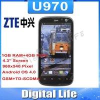 Original Unlocked ZTE U970 Mobile Phone 4.3 inch 3G TD-SCDMA Dual Core 1GB RAM 4GB ROM Smartphone