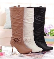 New bow high-heeled knight boots Rhinestone women's boots