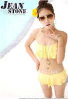 Best selling! sexy women  hang neck  falbala swimsuit bikini set  Free shipping 1set