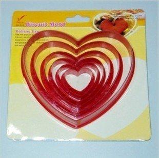 Conjunto de 6 pcs tamanho diferente plástico do coração Biscuit bolo Cookie Maker Mold cortador ferramenta DIY grátis frete(China (Mainland))