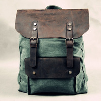 Free shipping 2012 new genuine leather canvas retro punk backpack do old school bag,crazy horse leather +canvas,red, green,brown