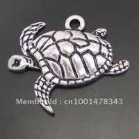 Antiqued Style Silver Tone Alloy  Sea Turtle 21*17*3mm Charm Pendant 40pcs 03919-011I