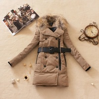 free shipping the lowest price women's large fur collar slim fashion medium-long thickening down coat 3