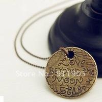 New design retro love words round coin necklace sweater chain