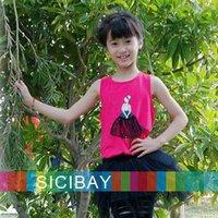 summer Vest New 2014 Baby Girls Sleeveless Ballet Printed Tops 95%Cotton Fashion Kids Girl Back Bow K0143