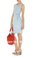 button decoration o-neck sleeveless slim denim dress one-piece dress DN211