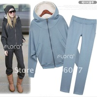 Hot women personality fashion 2 color sherpa leisure sports suit women suit Size M L -----------1580