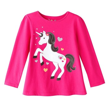 Baby girl long sleeve t-shirts, white hourse design cotton children's t-shirt kids clothes 5563