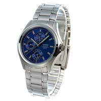 Christmas Gift Sale CASIO Latest Voguish Men's Wrist Watch Sapphire Three Subdial Pure Stainless steel watch Men MTP-1246D-2A