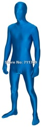 Free Shipping Lake Blue Colors Zentai Unitard Full Body Lycra Spandex 2nd Skin Catsuit Party Halloween Adult Costumes 6 Sizes(China (Mainland))