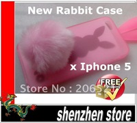 Cute Colorful Bunny Rabbit Silicone Case cover For iPhone 5 5G +retail package +Tail+Free ship airmail HK Track code